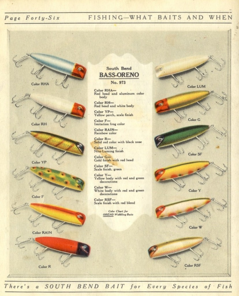 South Bend Bass-Oreno Color Chart 1925