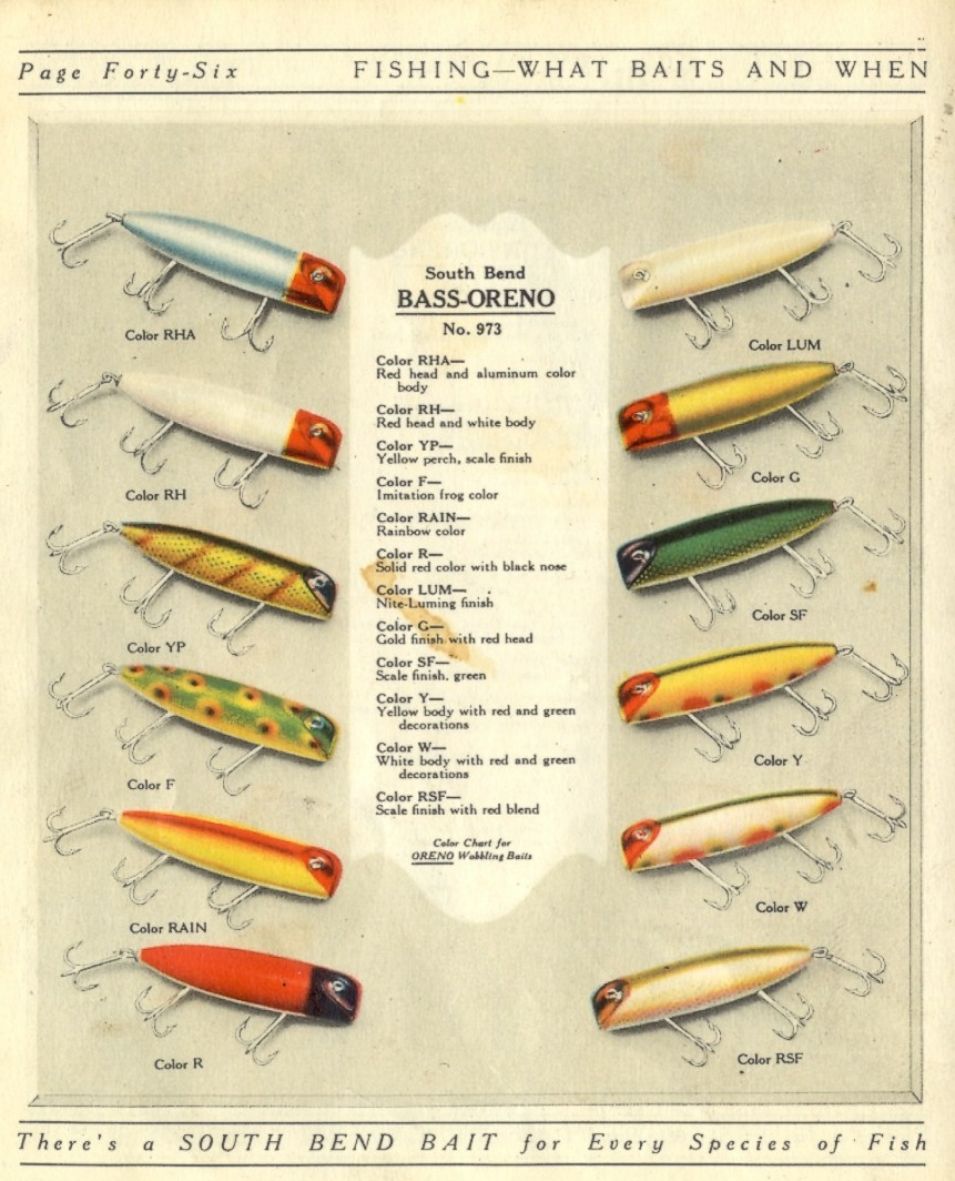 South bend bass oreno color chart 1925 old antique fishing lures south bend bass oreno color chart 1925 nvjuhfo Gallery